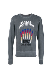 Sudadera estampada en gris oscuro de Zadig & Voltaire