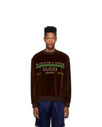 Sudadera estampada en marrón oscuro de Gucci