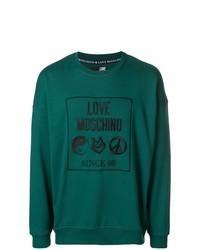Sudadera estampada en verde azulado de Love Moschino