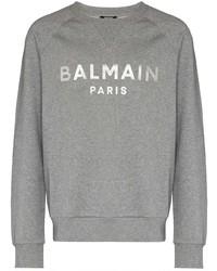 Sudadera estampada gris de Balmain