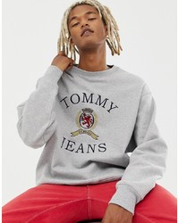 Sudadera estampada gris de Tommy Jeans