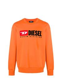 Sudadera estampada naranja de Diesel