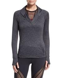 Suéter con cuello chal en gris oscuro
