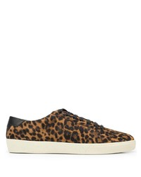 Tenis de ante de leopardo marrónes de Saint Laurent