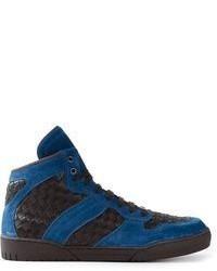 Tenis de ante en negro y azul de Bottega Veneta