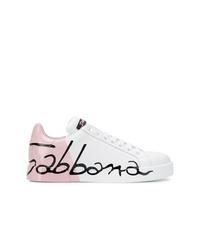 Tenis de cuero blancos de Dolce & Gabbana
