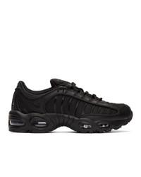 Tenis de cuero bordados en negro y blanco de Nike