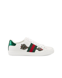 Tenis de cuero con adornos blancos de Gucci