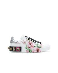 Tenis de cuero con print de flores blancos de Dolce & Gabbana