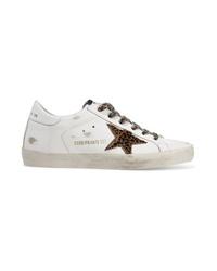 Tenis de cuero de leopardo blancos de Golden Goose Deluxe Brand
