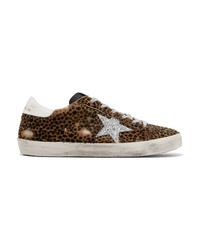 Tenis de cuero de leopardo en marrón oscuro de Golden Goose Deluxe Brand