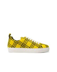 Tenis de cuero de tartán amarillos de MARQUES ALMEIDA