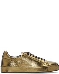 Tenis de cuero dorados de Jil Sander