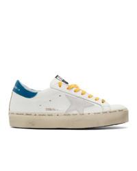 Tenis de cuero en blanco y azul de Golden Goose