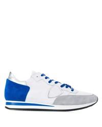 Tenis de cuero en blanco y azul de Philippe Model