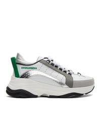 Tenis de cuero en blanco y verde de DSQUARED2