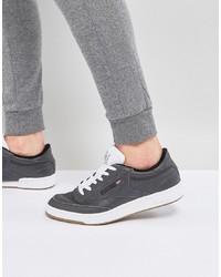 Tenis de cuero en gris oscuro de Reebok