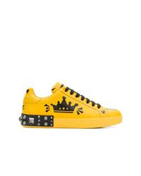 Tenis de cuero estampados amarillos de Dolce & Gabbana