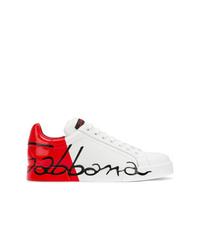 Tenis de cuero estampados blancos de Dolce & Gabbana