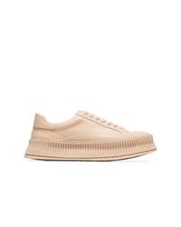 Tenis de cuero marrón claro de Jil Sander