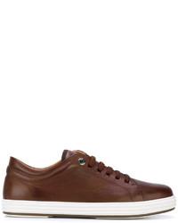 Tenis de cuero marrónes de Salvatore Ferragamo