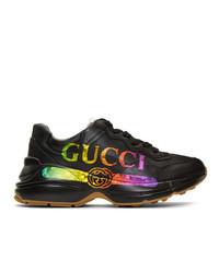 Tenis de cuero negros de Gucci