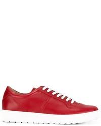Tenis de cuero rojos de Salvatore Ferragamo