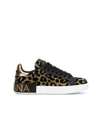 Tenis de leopardo dorados de Dolce & Gabbana