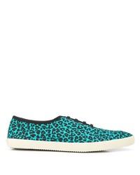 Tenis de leopardo en turquesa de Saint Laurent