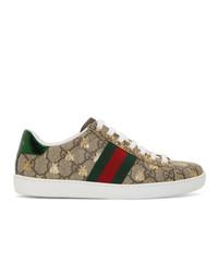 Tenis de lona con print de serpiente marrón claro de Gucci