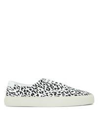 Tenis de lona de leopardo en blanco y negro de Saint Laurent