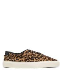 Tenis de lona de leopardo marrón claro de Saint Laurent