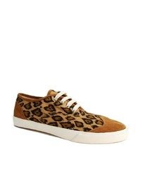 Tenis de lona de leopardo marrón claro de YMC