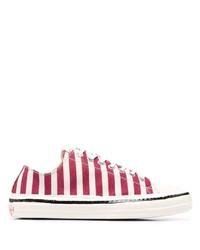 Tenis de lona de rayas horizontales en rojo y blanco de Marni