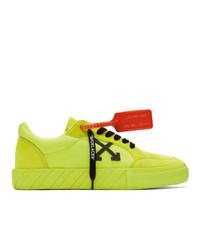 Tenis de lona en amarillo verdoso de Off-White