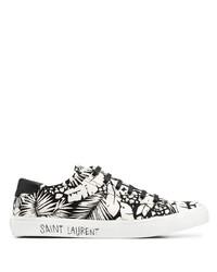 Tenis de lona estampados en negro y blanco de Saint Laurent