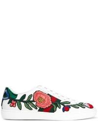 Tenis de rayas horizontales blancos de Gucci