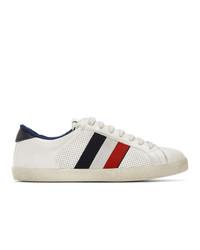 Tenis de rayas horizontales en blanco y rojo y azul marino de Moncler