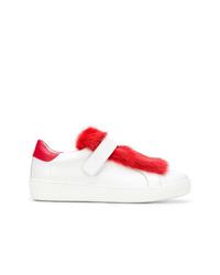 Tenis en blanco y rojo de Moncler