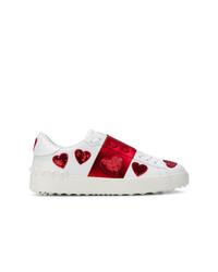 Tenis en blanco y rojo de Valentino
