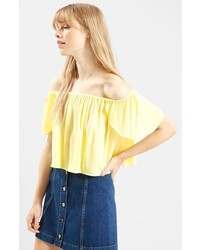 Top con hombros descubiertos amarillo