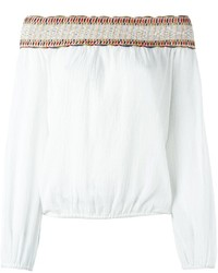 Top con hombros descubiertos bordado blanco de Tory Burch