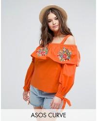 Top con hombros descubiertos bordado naranja de Asos