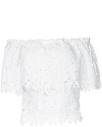 Top con hombros descubiertos de encaje blanco