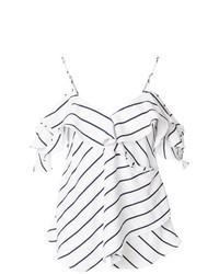 Top con hombros descubiertos de rayas horizontales en blanco y negro