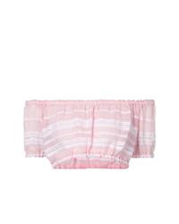 Top con hombros descubiertos de rayas horizontales rosado de Lemlem