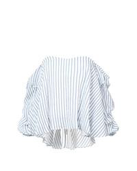 Top con hombros descubiertos de rayas verticales celeste de Caroline Constas