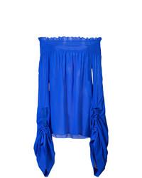 Top con hombros descubiertos de seda azul de Saint Laurent