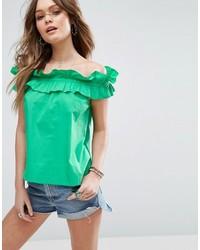 Top con hombros descubiertos en verde menta de Asos
