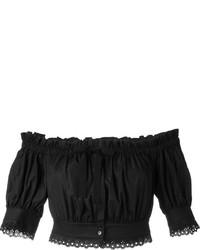 Top con hombros descubiertos negro de Alexander McQueen